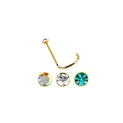 Twist Post 18ct Gold Jeweled Nose Stud NS1025