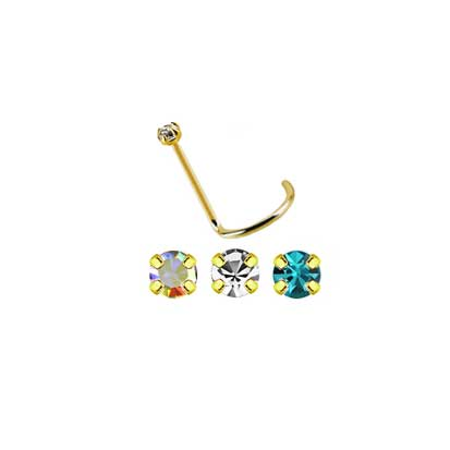 Twist Post 18ct Gold Jeweled Nose Stud NS1026