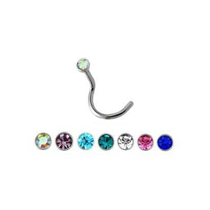 Twist Post Stainless Steel Jeweled Nose Stud NS1030 - Rossan Distributors