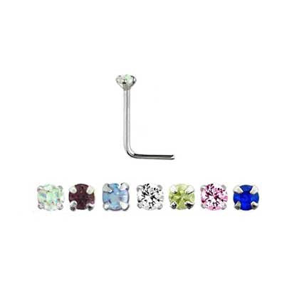 Bent Post Sterling Silver Jewelled Nose Studs NS4096 - Rossan Distributors