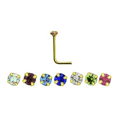 Bent Post Gold Plated Jewelled Nose Studs NS5096 - Rossan Distributors