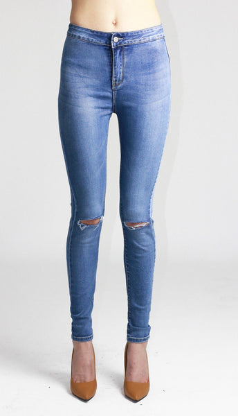 Mia Womens Ladies Light Blue High Waist Knee Ripped Skinny Jeans