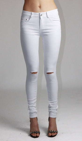 Emma Womens Ladies White Knee Ripped Skinny Jeans