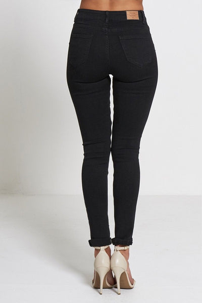 Cara Black Highly Ripped Stylish Mid Waist Jean - Dresskode  - 3