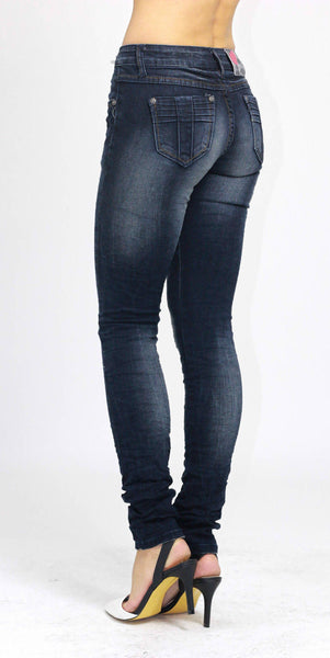 Ladies Slim Fit Skinny Stretchy Blue Denim Jeans Size 8 - Dresskode  - 2