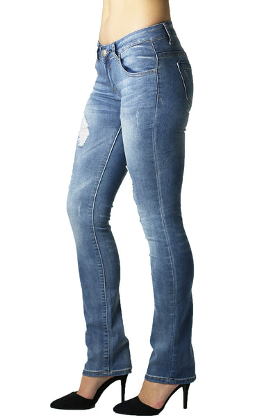 Womens Ripped Bootcut Blue Jeans
