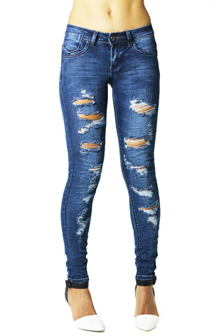 Dark Blue Stretchy Skinny Ripped Ankle Jean - Dresskode  - 1