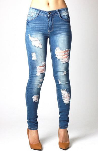 Womens Blue Ripped Stretchy Skinny Denim Jean - Dresskode  - 1