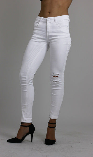 Womesn White Knee Ripped Skinny Jeans size 12 - Dresskode  - 2