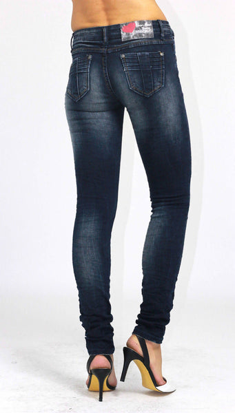 Ladies Slim Fit Skinny Stretchy Blue Denim Jeans Size 8 - Dresskode  - 3