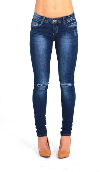 Womens Blue Knee Ripped Faded Skinny Denim Jeans Size 6 - Dresskode  - 1