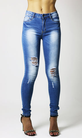 Womens Ladies Blue Skinny Knee Ripped Jeans - Dresskode  - 1