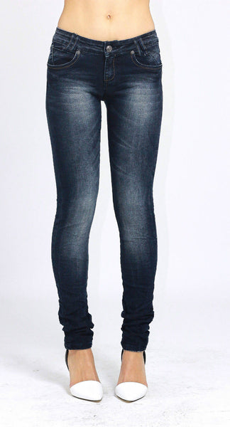 Ladies Slim Fit Skinny Stretchy Blue Denim Jeans Size 8 - Dresskode  - 1