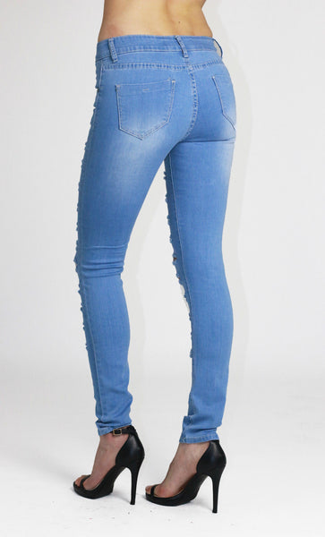 Ellie Womens Ladies Light Blue Ripped Skinny Jeans - Dresskode  - 2