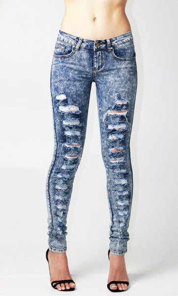 Acid Wash Blue Multi Ripped Skinny Jean