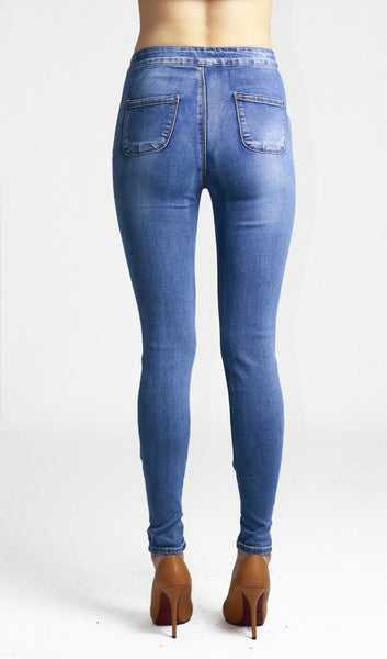 Mia Womens Ladies Light Blue High Waist Knee Ripped Skinny Jeans - Dresskode  - 3