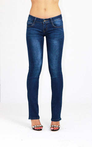 Alicia Low Waist Boot Cut Blue Ladies Womens Jeans - Dresskode  - 1