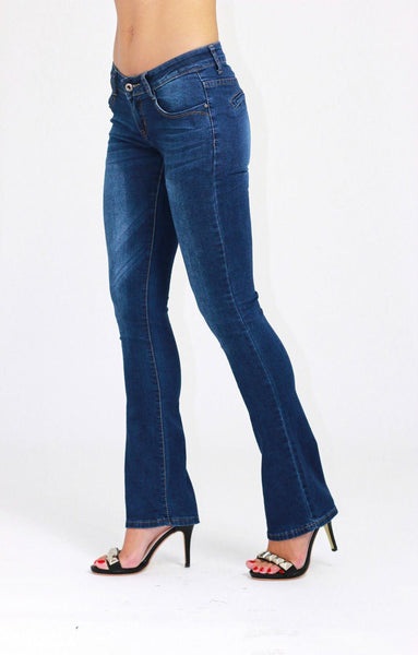 Alicia Low Waist Boot Cut Blue Ladies Womens Jeans - Dresskode  - 2