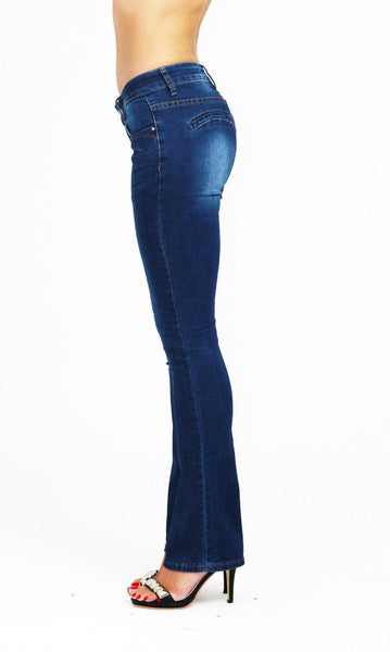 Alicia Low Waist Boot Cut Blue Ladies Womens Jeans - Dresskode  - 3