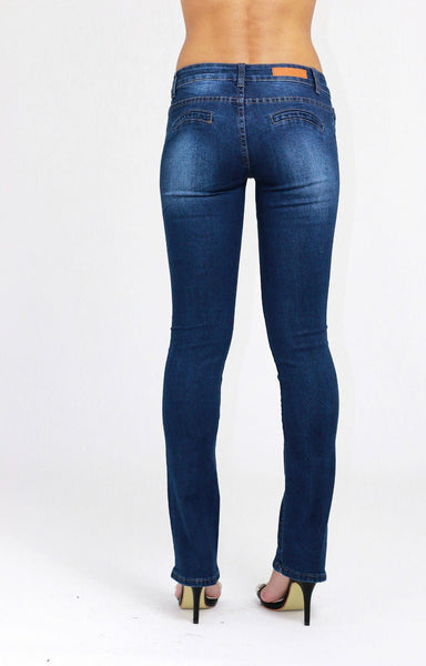 Alicia Low Waist Boot Cut Blue Ladies Womens Jeans - Dresskode  - 4