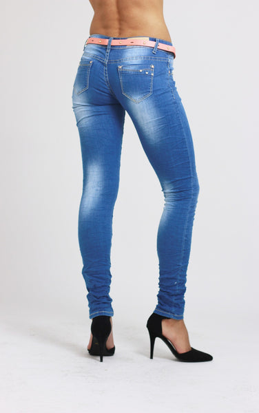 Amber Womens Ladies Blue Slim Fit Skinny Denim Jeans - Dresskode  - 3