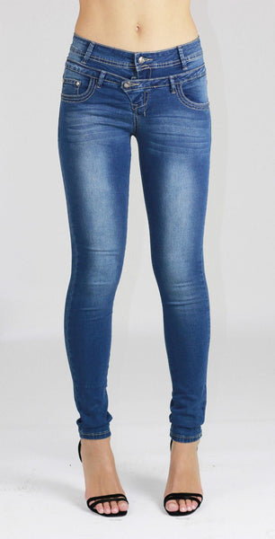 Amelie Womens Ladies Blue Stretchy Skinny Denim Jeans Pants