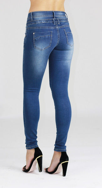 Amelie Womens Ladies Blue Stretchy Skinny Denim Jeans Pants - Dresskode  - 2