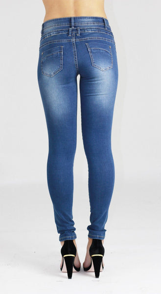 Amelie Womens Ladies Blue Stretchy Skinny Denim Jeans Pants - Dresskode  - 3