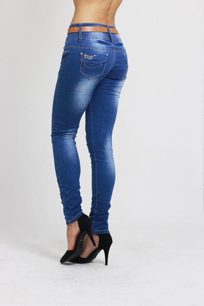 Annabelle Womens Ladies Blue Slim Fit Skinny Denim Jeans - Dresskode  - 2