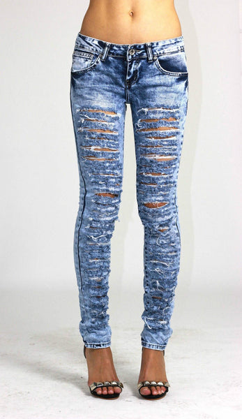 Bethany Womens Ladies Slim Fit Blue Ripped Distressed Skinny Denim Jeans