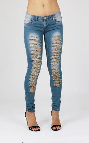 Faith Womens Ladies Blue Ripped Distressed Skinny Jeans - Dresskode  - 1