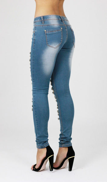 Faith Womens Ladies Blue Ripped Distressed Skinny Jeans - Dresskode  - 2