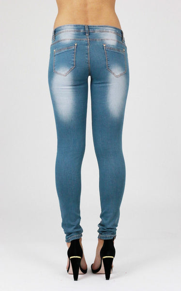 Faith Womens Ladies Blue Ripped Distressed Skinny Jeans - Dresskode  - 3