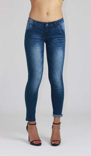 Florence Ladies Mid Waist Blue Faded Ankle Length Skinny Jeans - Dresskode  - 1