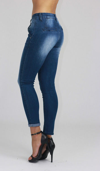 Florence Ladies Mid Waist Blue Faded Ankle Length Skinny Jeans - Dresskode  - 2