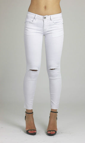 Francesca Womens Ladies Knee Ripped Stretchy White Skinny Denim Cotton Jeans - Dresskode  - 1