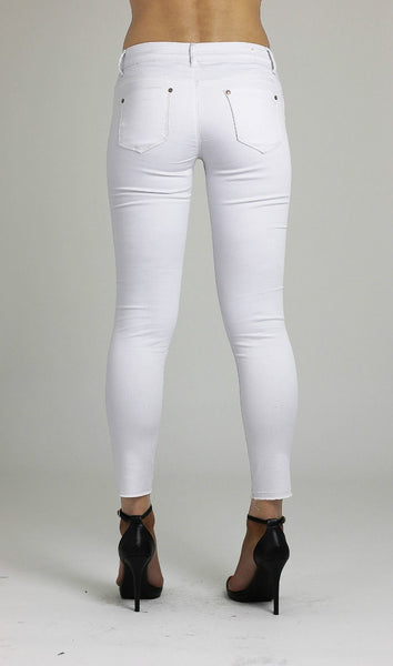Francesca Womens Ladies Knee Ripped Stretchy White Skinny Denim Cotton Jeans - Dresskode  - 3