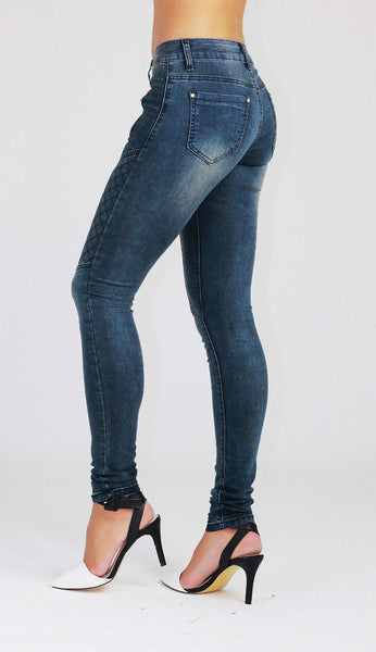 Ivy Womens Ladies Blue Slim fit Faded Stretchy Skinny Denim Jeans - Dresskode  - 2