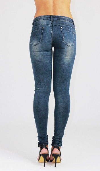 Ivy Womens Ladies Blue Slim fit Faded Stretchy Skinny Denim Jeans - Dresskode  - 3