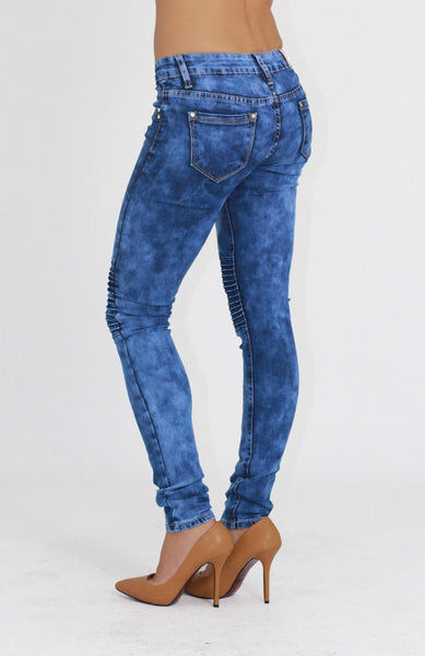 Jessica Ladies Cloud Wash Blue Skinny Jeans With Gathering On Knee - Dresskode  - 2