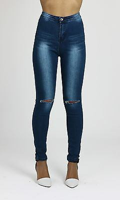 Leah Womens Ladies High Waisted Stretchy Skinny Knee Ripped Distressed Jeans
