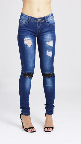 Lucy Womens Ladies Blue Faded Distressed Patches Black Laced Knee Skinny Jean - Dresskode  - 1
