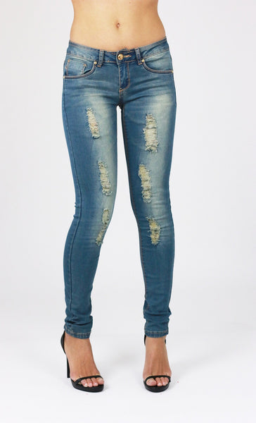 Melissa Womens Ladies Blue  Ripped Distressed Skinny Jeans