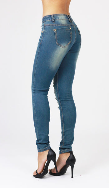 Melissa Womens Ladies Blue  Ripped Distressed Skinny Jeans - Dresskode  - 2