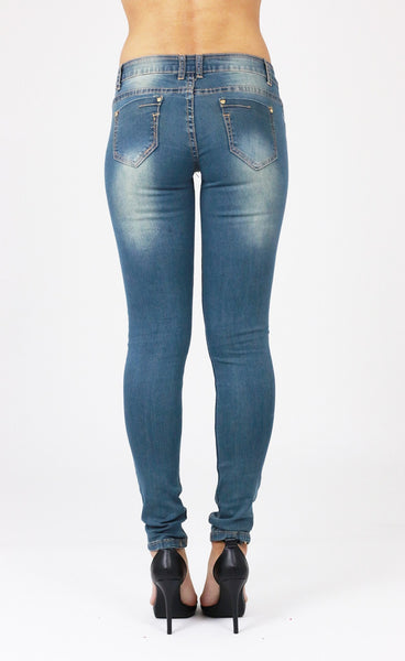 Melissa Womens Ladies Blue  Ripped Distressed Skinny Jeans - Dresskode  - 3