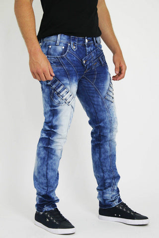 MENS DENIM JEANS BLUE BRANDED SLIM FIT TRIMMED DESIGN - Dresskode  - 1