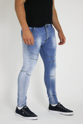 Mens Pale Blue Jeans Skinny Jeans with Leg Panels - Dresskode  - 1