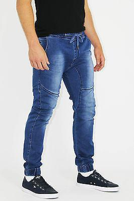 MENS STYLISH BLUE CUFFED LACED SLIM FIT JEANS WAIST SIZES - Dresskode  - 1