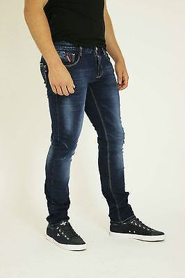 NEW MENS STYLE JEANS BLUE DESIGNER BRANDED STRAIGHT  SLIM FIT WASHED DENIMS