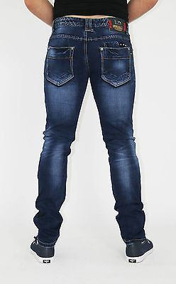 NEW MENS STYLE JEANS BLUE DESIGNER BRANDED STRAIGHT  SLIM FIT WASHED DENIMS - Dresskode  - 3